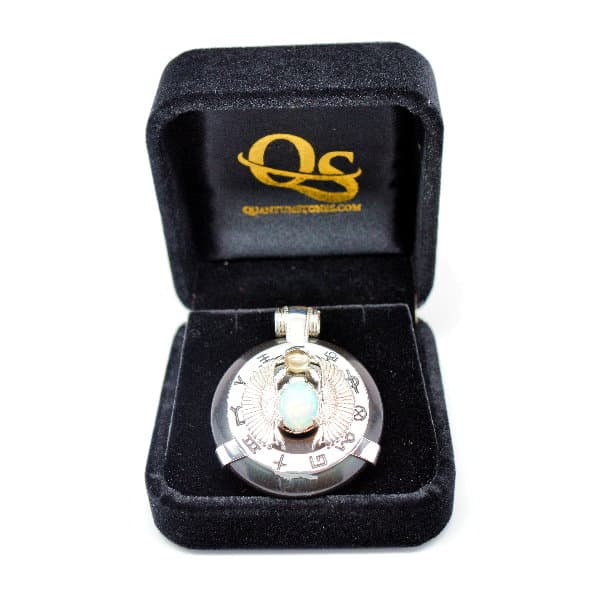 Black Obsidian w/Opal Body – Scarab Egyptian Amulet (FREE Gift Box)