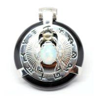 Black Obsidian w/Opal Body – Scarab Egyptian Amulet (Front)