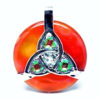 Triquetra Carnelian w/Mystic Green & Clear Quartz Amulet (Front)