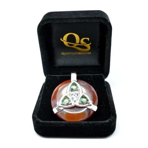 Triquetra Carnelian w/Mystic Green & Clear Quartz Amulet (FREE Gift Box)