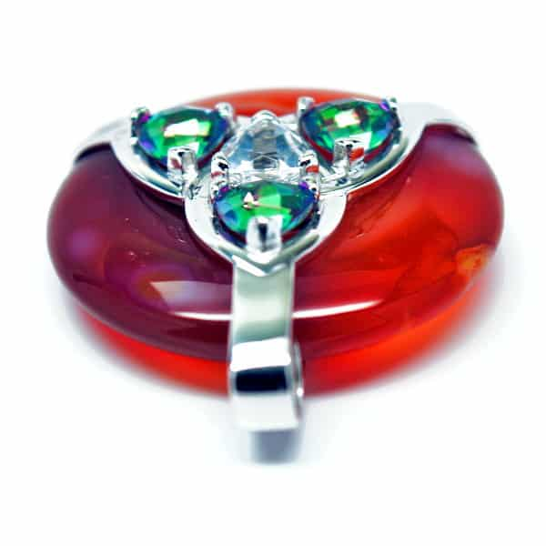 Triquetra Carnelian w/Mystic Green & Clear Quartz Amulet