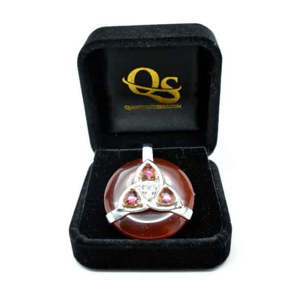 Triquetra Carnelian w/Mystic Yellow – Clear Quartz Amulet (FREE Gift Box)