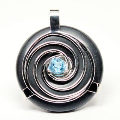 Obsidian w/Blue Topaz