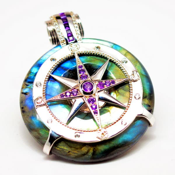 Rainbow Labradorite - Galactic Compass Front View