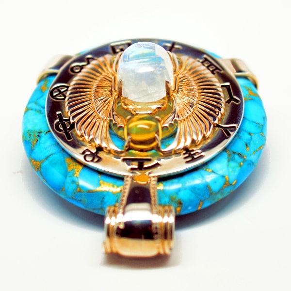 Turquoise W Moonstone Body Scarab Egyptian Amulet