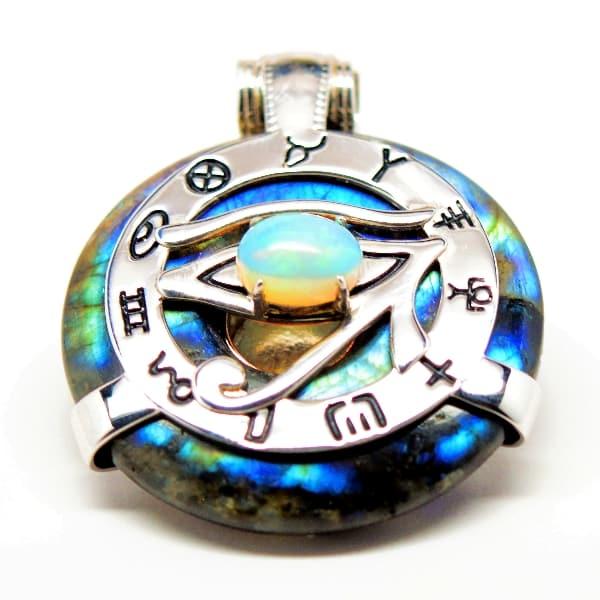 Rainbow Labradorite w/ Opal Eye - Horus Egyptian Amulet - (G002)