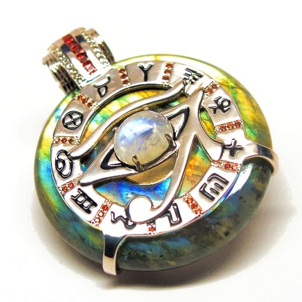 Rainbow Labradorite & Garnet w/ Moonstone Eye – Horus Egyptian Amulet
