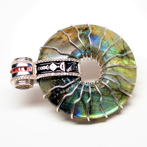 Rainbow Labradorite Solar & Egyptian Amulet