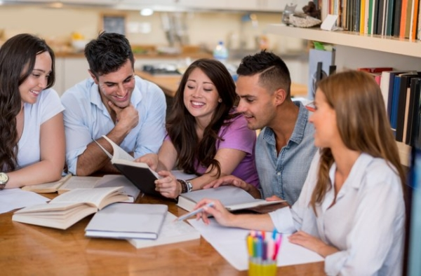 College students utilizing gratitude journals.
